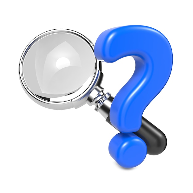 Magnifying glass with silver border and question mark. isolated on white. Premium Photo