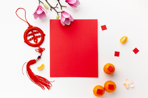 Magnolia and card mock-up chinese new year Free Photo