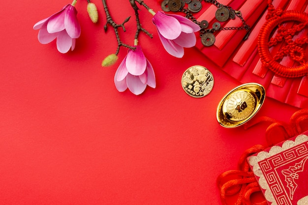 Magnolia and golden coin chinese new year Free Photo