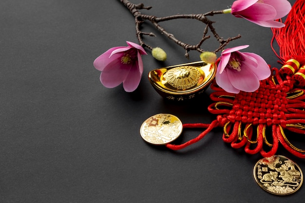 Magnolia and golden coins for chinese new year Free Photo