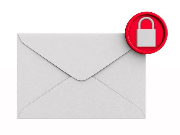 Почта и замок на белом. Premium Фотографии