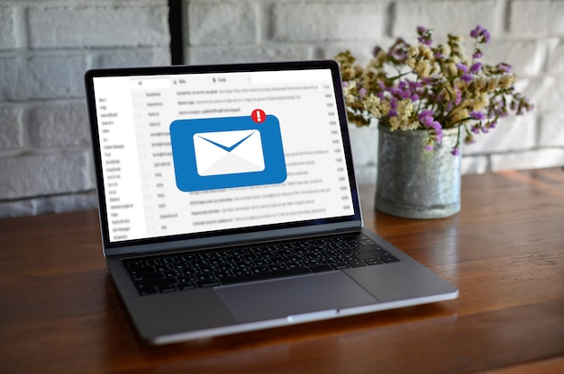 Mail communication connection message to mailing contacts phone global letters concept Premium Photo