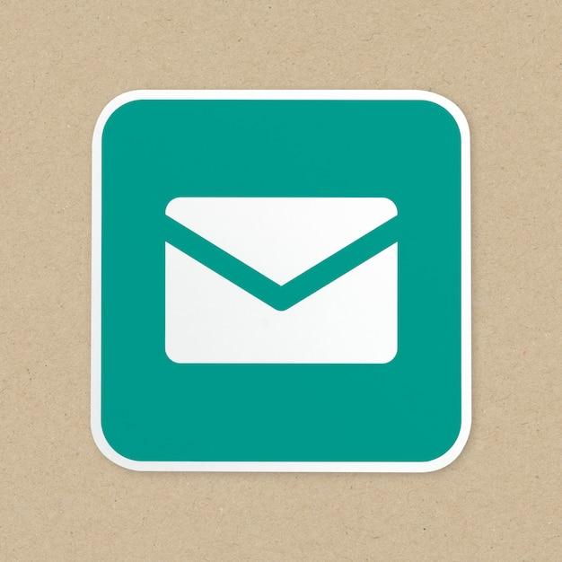 Icona del pulsante verde posta elettronica isolata Foto Gratuite