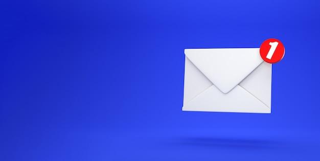 Уведомление по электронной почте одно новое сообщение электронной почты в концепции почтового ящика, изолированное на синем фоне с тенью 3d-рендеринга Premium Фотографии