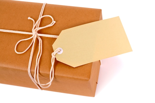 mail package with rope and label photo free download