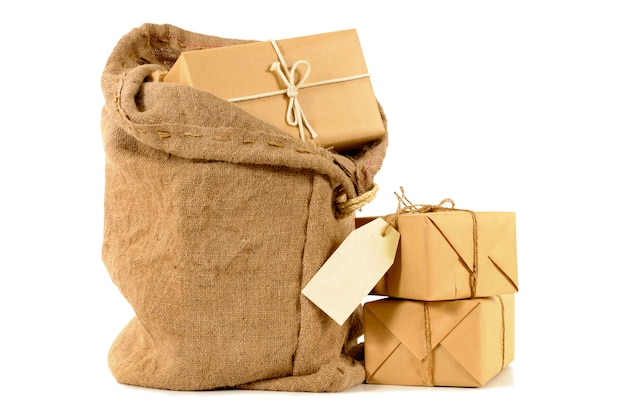Mail sack with wrapped packages Free Photo