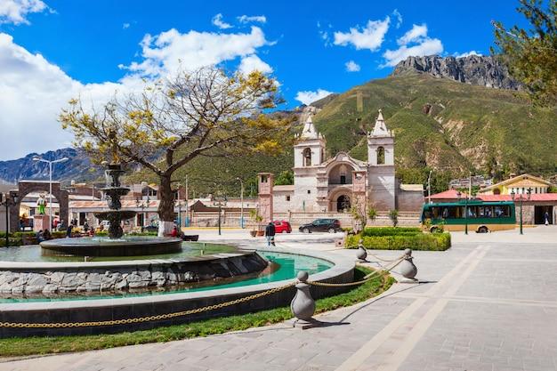 Main catholic cathedral in chivay city in peru Premium Photo