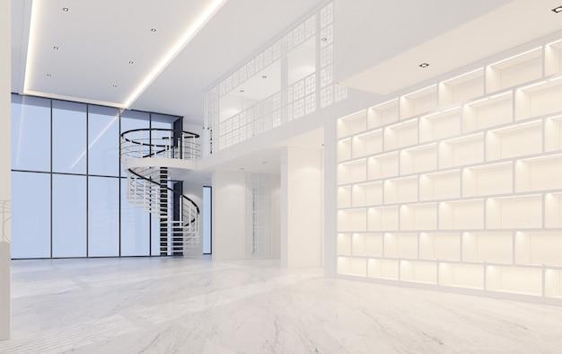 대리석 바닥 3d 렌더링 Mainhall 더블 공간 인테리어 중외 포르투갈어 스타일 프리미엄 사진
