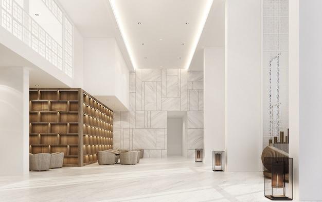 Mainhall двухместный интерьер китайско-португальского стиля с мраморным полом и набором кресел и деревянной встроенной 3d-рендеринга Premium Фотографии