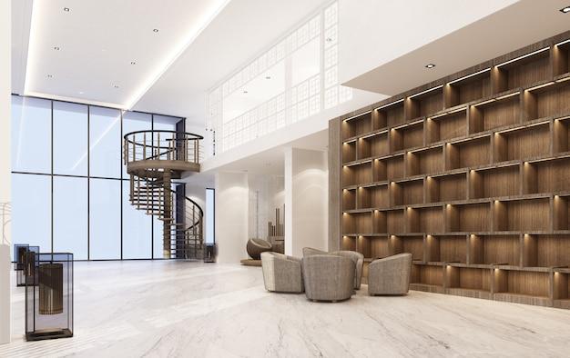 대리석 바닥과 안락 의자 세트 및 목조 내장 3d 렌더링 메인 홀 더블 공간 인테리어 중외 포르투갈어 스타일 프리미엄 사진