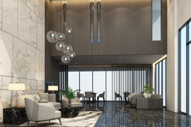 회색 톤 컬러 3d 렌더링의 고급 가구와 대리석 질감이있는 콘도 또는 호텔의 메인 홀 리셉션 대기실 프리미엄 사진