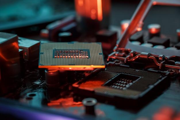 Maintenance computer cpu hardware upgrade of motherboard component Premium Photo