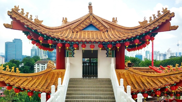 The majestic chinese temple in traditional chinese style. Premium Photo