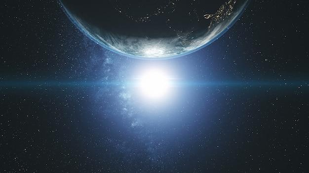 Величественный вращение земли орбиты солнечного света галактики Premium Фотографии