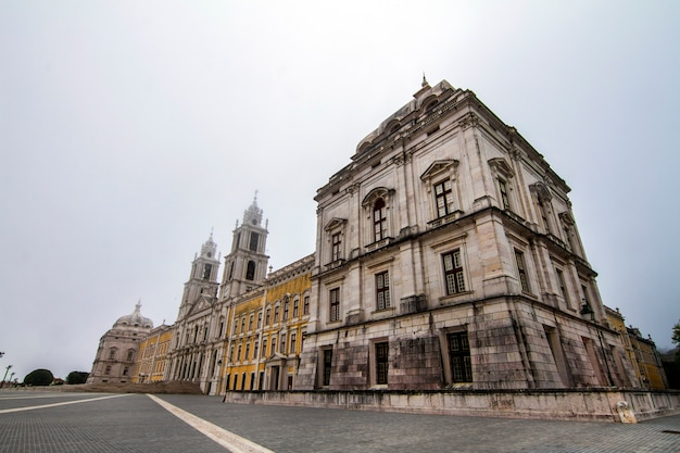 Majestic view of the national palace of mafra landmark, portugal. Premium Photo