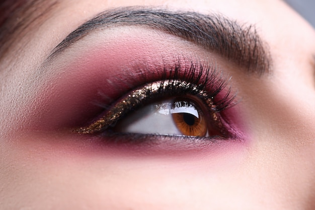 Make-up eye of young attractive woman beauty portrait Premium Photo