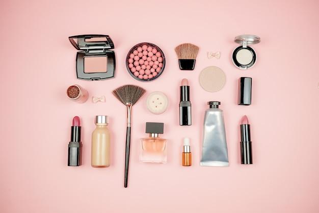 Makeup cosmetic flay lay Premium Photo