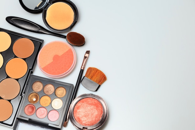 Makeup products  on white background Premium Photo