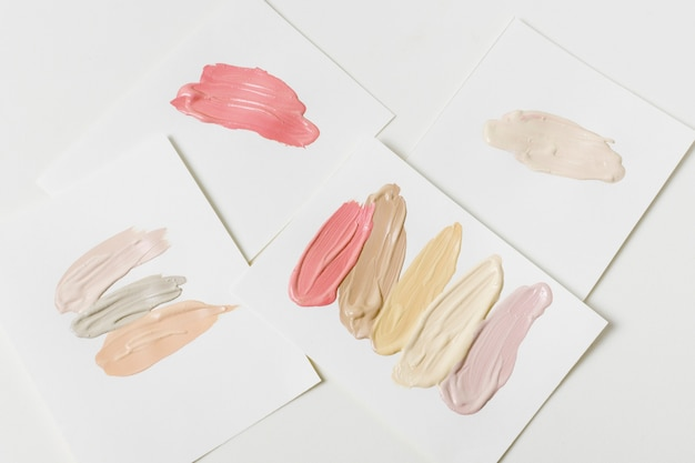 Makeup swatches on paper Free Photo