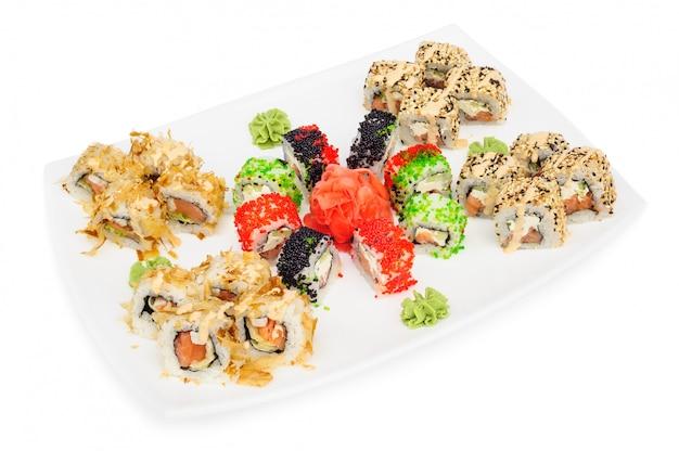 Maki sushi set of rolls isolated on white Premium Photo