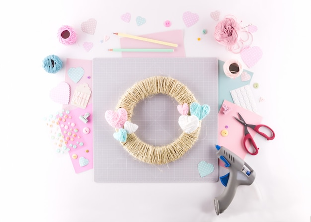 Making diy project. knitting decoration. craft tools and supplies. season home valentines day decor. Premium Photo