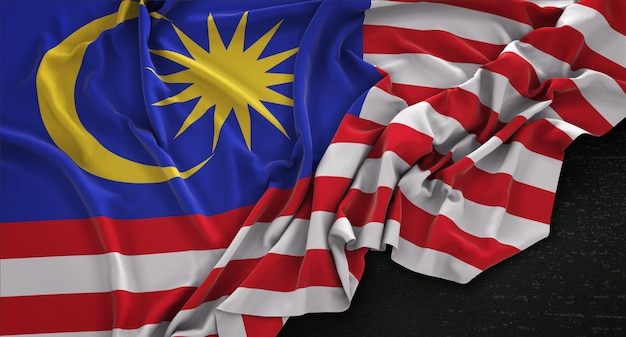 Malaysia flag wrinkled on dark background 3d render Free Photo