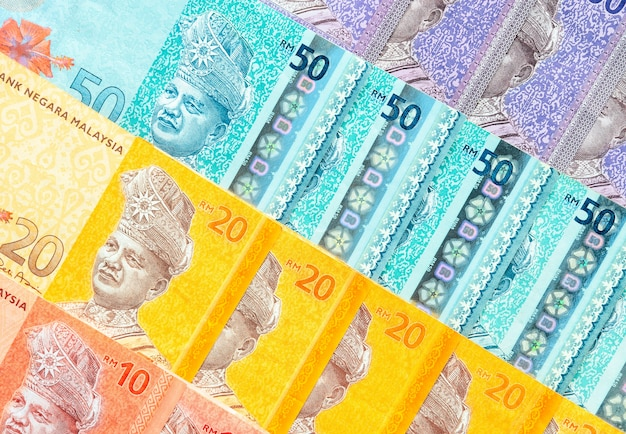 Malaysian ringgit banknotes background  financial concept  Photo