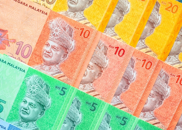 Malaysian ringgit banknotes background. financial concept. Premium Photo