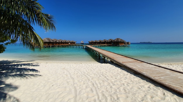 Maldives beaches and the long corridors of the accommodation. Premium Photo