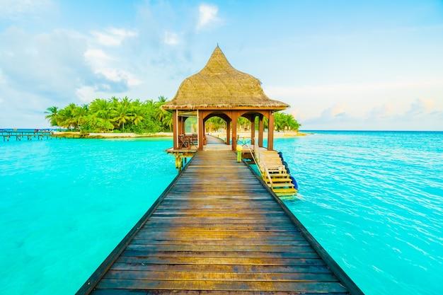 Maldives ocean beautiful pier holiday Free Photo