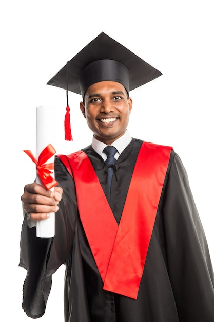 Male african american graduate in gown and cap Premium Photo