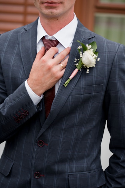 Male arm in blue suit set tie closeup. white collar management job serious move secretary student luxury formal interview executive agent marriage store corporate elegance employment preparation Premium Photo