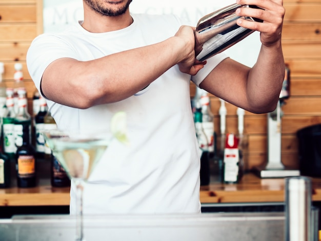 Male bartender mixing drink in shaker Free Photo