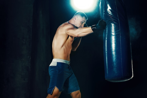Male boxer boxing in punching bag Free Photo