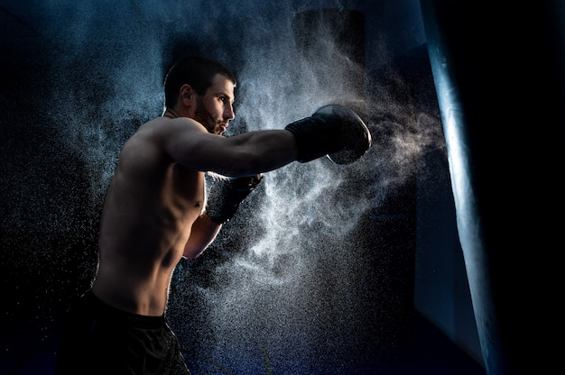 Male boxer boxing in punching bag Premium Photo