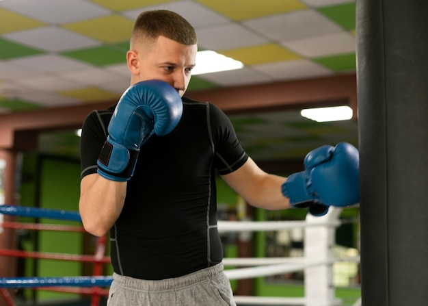 Male boxer with gloves training Free Photo