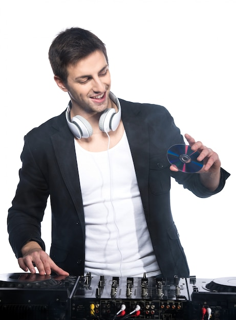 Male dj with dj mixer Premium Photo