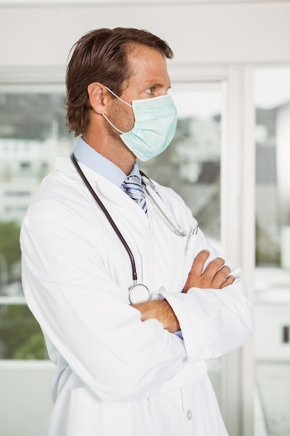 Surgical Premium Male Wearing Photo Mask In Doctor Hospital