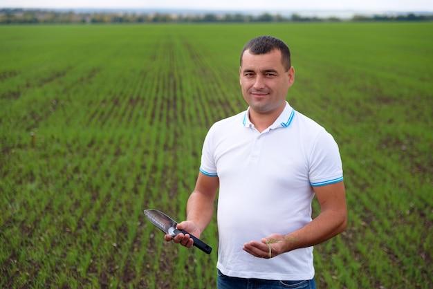 Мужчина-фермер в поле, ухаживая за посевами Premium Фотографии