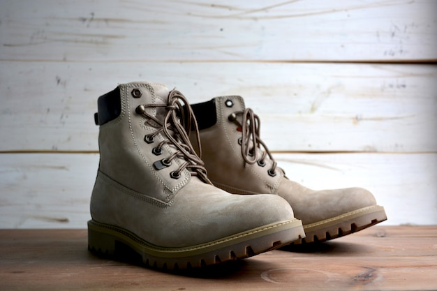 Male and female leather boots authentic Premium Photo