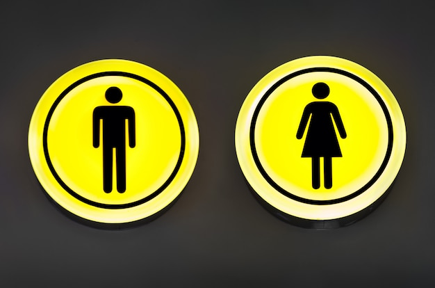 Male, female toilet, restroom sign. man and woman equality concept. Premium Photo