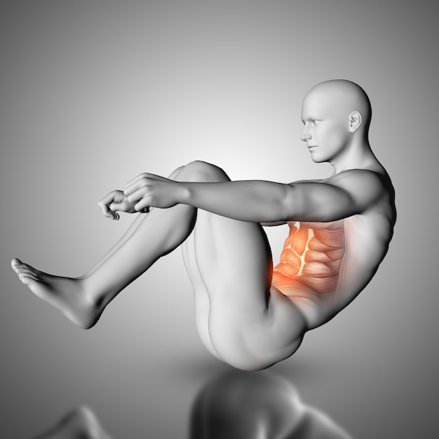 Male figure doing crunch exercise with stomach muscles highlighted Free Photo