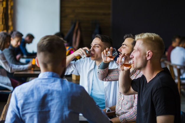 Male friends enjoying drinks in the bar Free Photo