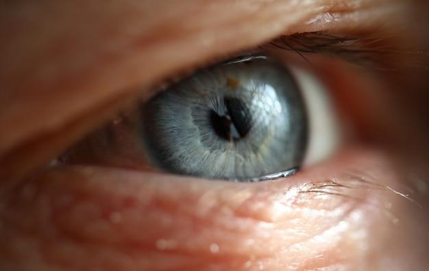 Male gray blue colored right eye in low light technique Premium Photo