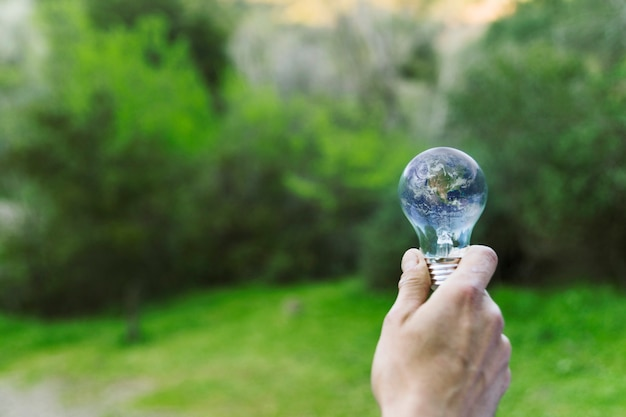 Male hand holding earth in glass bulb Free Photo