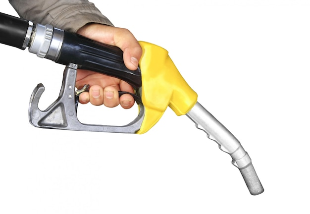 Male hand holding gas pump isolated Premium Photo