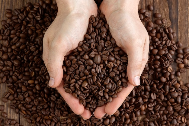 Male hands holding a handful of coffee beans on wooden table Premium Photo
