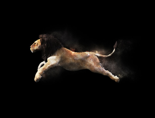 A male lion moving and jumping with dust particle effect on black background Premium Photo