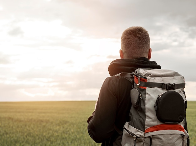 Male with backpack Premium Photo