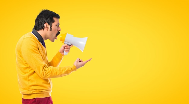 Man angry with his brother on colorful background Premium Photo